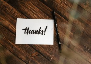 Picture of a Business Thank You card with a marker